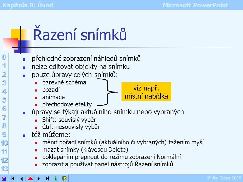 Kapitola 0: Úvod Microsoft PowerPoint © Jan Felger 2005 Normální Tři podokna: 1.Osnova karta Osnova: zobrazí nadpisy a texty snímků (ne texty z textov