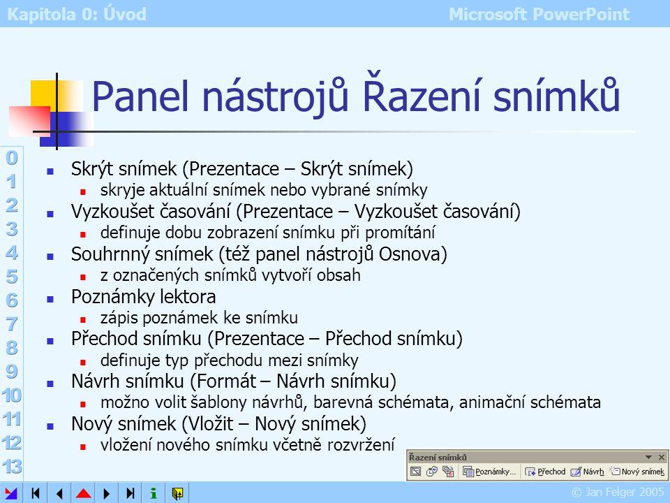Kapitola 0: Úvod Microsoft PowerPoint © Jan Felger 2005 Řazení snímků přehledné zobrazení náhledů snímků nelze editovat objekty na snímku pouze úpravy