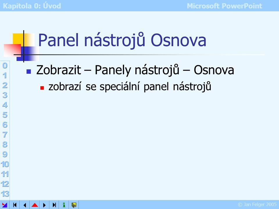Kapitola 0: Úvod Microsoft PowerPoint © Jan Felger 2005 Projekce – místní nabídka Část 2 Možnosti ukazatele nastavení vlastností ukazatele myši, např.