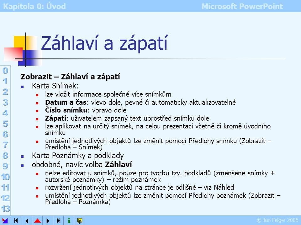 Kapitola 0: Úvod Microsoft PowerPoint © Jan Felger 2005 Poznámky Zobrazit – Poznámky zobrazení snímku s poznámkami tak, jak by se tiskly na tiskárně v