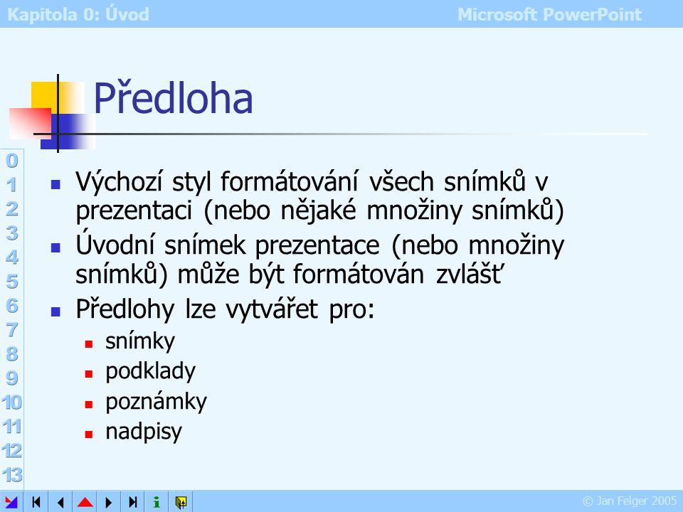 Kapitola 0: Úvod Microsoft PowerPoint © Jan Felger 2005 Záhlaví a zápatí Zobrazit – Záhlaví a zápatí Karta Snímek: lze vložit informace společné více