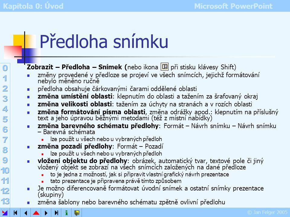 Kapitola 0: Úvod Microsoft PowerPoint © Jan Felger 2005 Předloha Výchozí styl formátování všech snímků v prezentaci (nebo nějaké množiny snímků) Úvodn