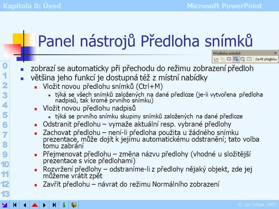 Kapitola 0: Úvod Microsoft PowerPoint © Jan Felger 2005 Předloha snímku Zobrazit – Předloha – Snímek (nebo ikona při stisku klávesy Shift) změny prove
