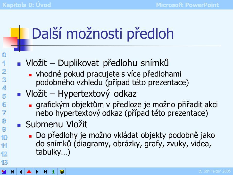 Kapitola 0: Úvod Microsoft PowerPoint © Jan Felger 2005 Panel nástrojů Předloha snímků zobrazí se automaticky při přechodu do režimu zobrazení předloh