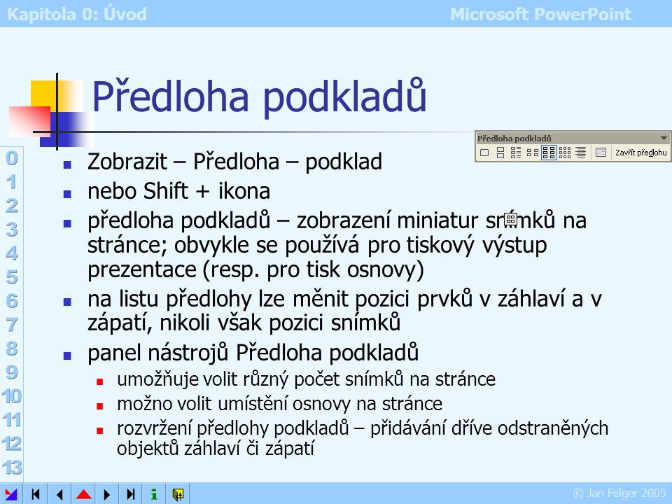 Kapitola 0: Úvod Microsoft PowerPoint © Jan Felger 2005 Návrh šablony Zobrazit – Předloha – Snímek Formát – Návrh snímku (nebo Podokno úloh – Návrh sn