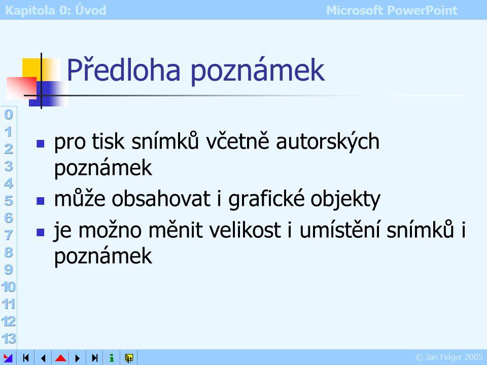 Kapitola 0: Úvod Microsoft PowerPoint © Jan Felger 2005 Předloha podkladů Zobrazit – Předloha – podklad nebo Shift + ikona předloha podkladů – zobraze