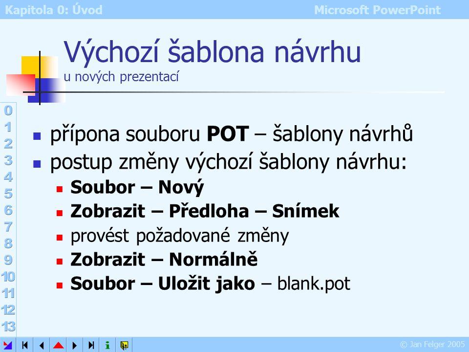 Kapitola 0: Úvod Microsoft PowerPoint © Jan Felger 2005 Předloha poznámek pro tisk snímků včetně autorských poznámek může obsahovat i grafické objekty