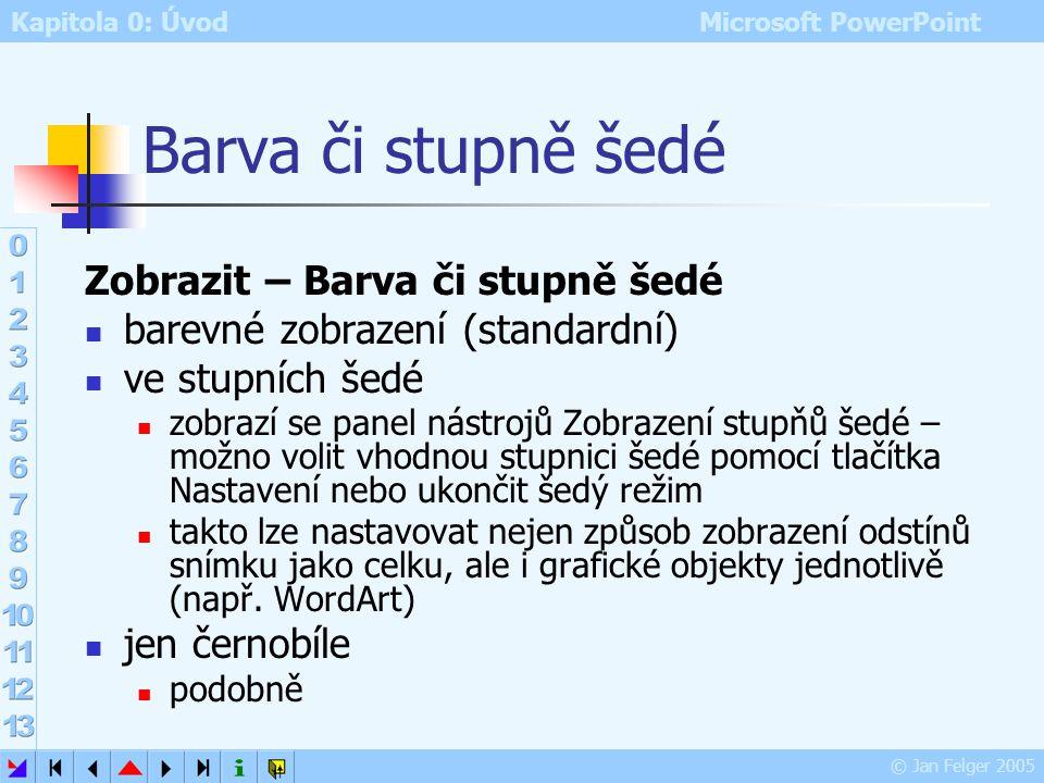 Kapitola 0: Úvod Microsoft PowerPoint © Jan Felger 2005 Výchozí šablona návrhu u nových prezentací přípona souboru POT – šablony návrhů postup změny v