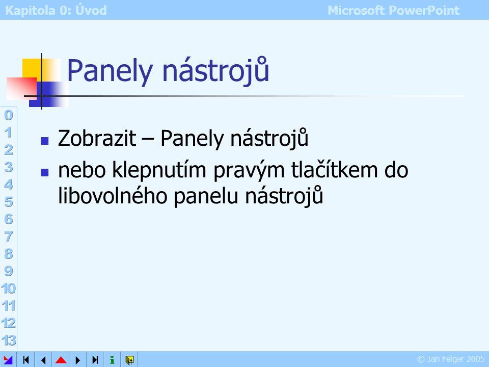 Kapitola 0: Úvod Microsoft PowerPoint © Jan Felger 2005 Podokno úloh Zobrazit – podokno úloh pomocí šipky lze přepínat mezi 10 podokny: Nová prezentac