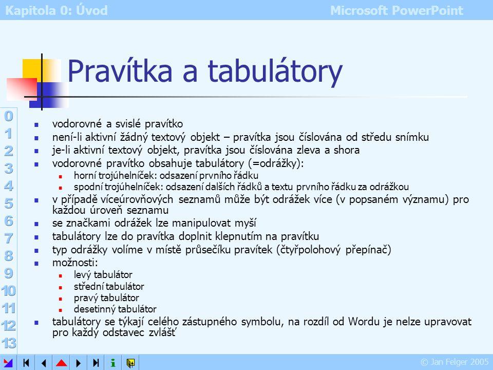 Kapitola 0: Úvod Microsoft PowerPoint © Jan Felger 2005 Panely nástrojů Zobrazit – Panely nástrojů nebo klepnutím pravým tlačítkem do libovolného pane