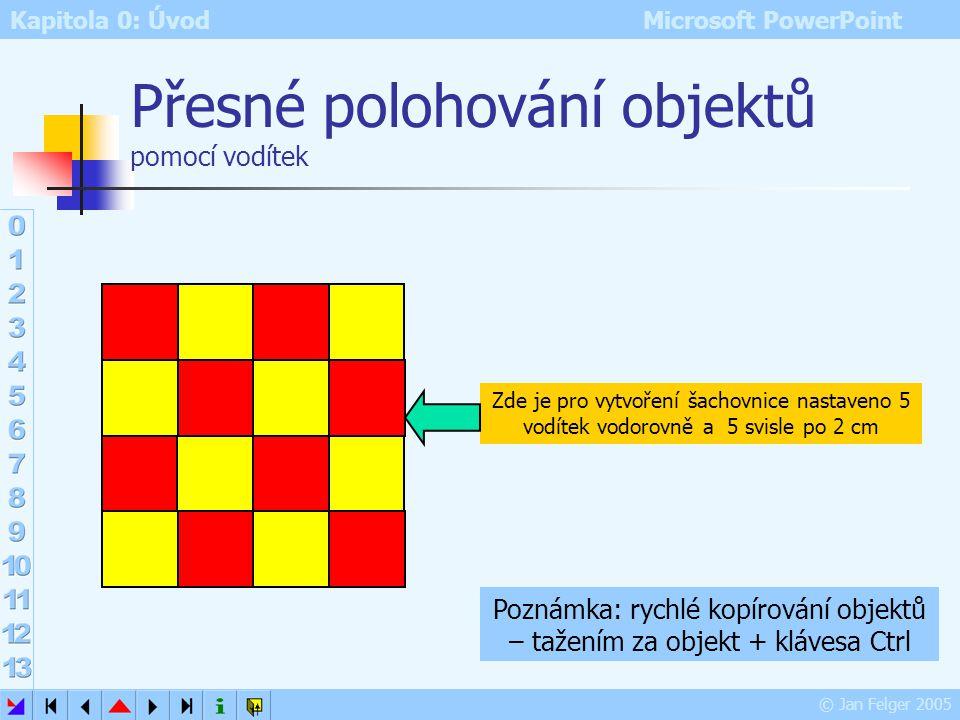 Kapitola 0: Úvod Microsoft PowerPoint © Jan Felger 2005 Mřížka a vodítka Zobrazit – Mřížka a vodítka lepší vizuální orientace při tvorbě snímku usnadn