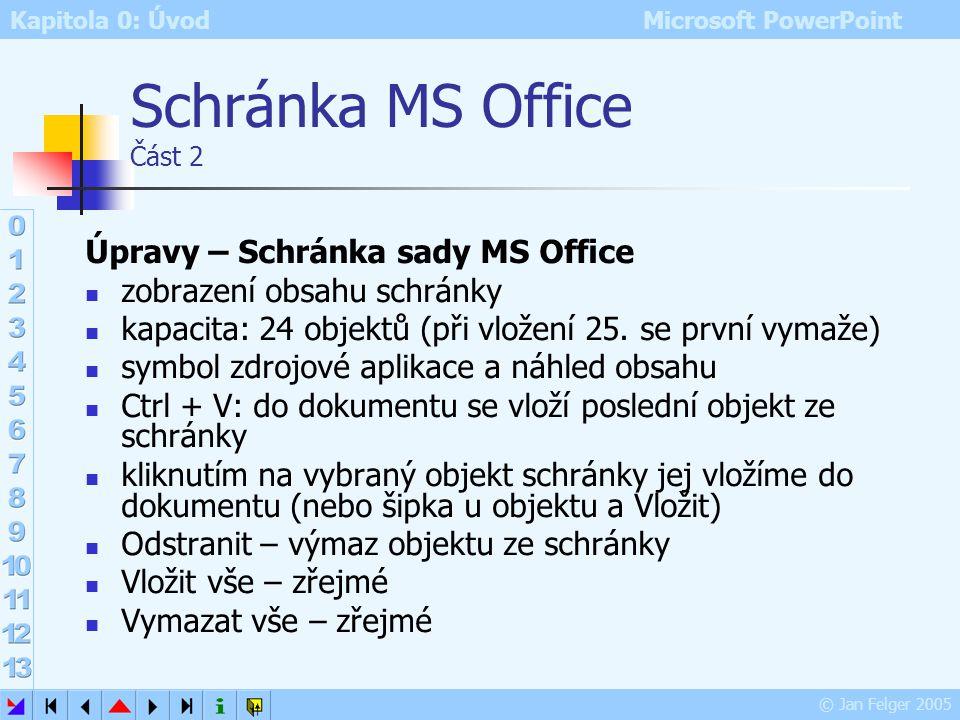 Kapitola 0: Úvod Microsoft PowerPoint © Jan Felger 2005 Schránka MS Office Část 1 Úpravy – VyjmoutCtrl+X aktuální výběr (text či jiný objekt) vyjme z