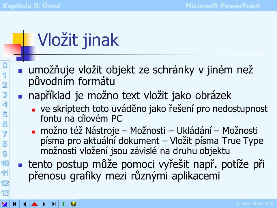 Kapitola 0: Úvod Microsoft PowerPoint © Jan Felger 2005 Schránka MS Office Část 2 Úpravy – Schránka sady MS Office zobrazení obsahu schránky kapacita: