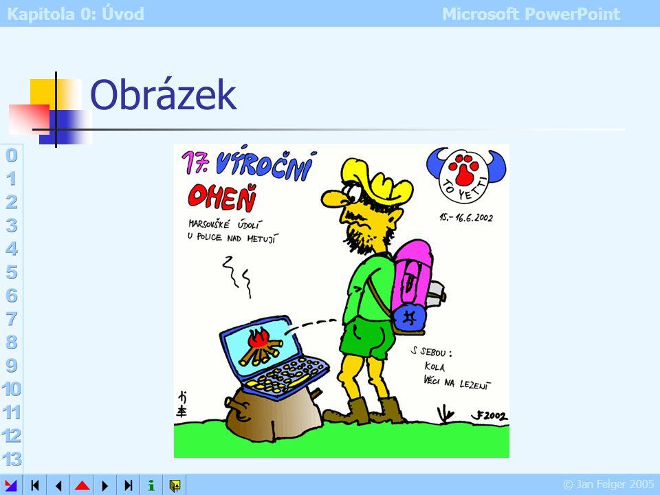 Kapitola 0: Úvod Microsoft PowerPoint © Jan Felger 2005 Vložit jako hypertextový odkaz Vložit – Vložit jako hypertextový odkaz místo zkopírovaného obj