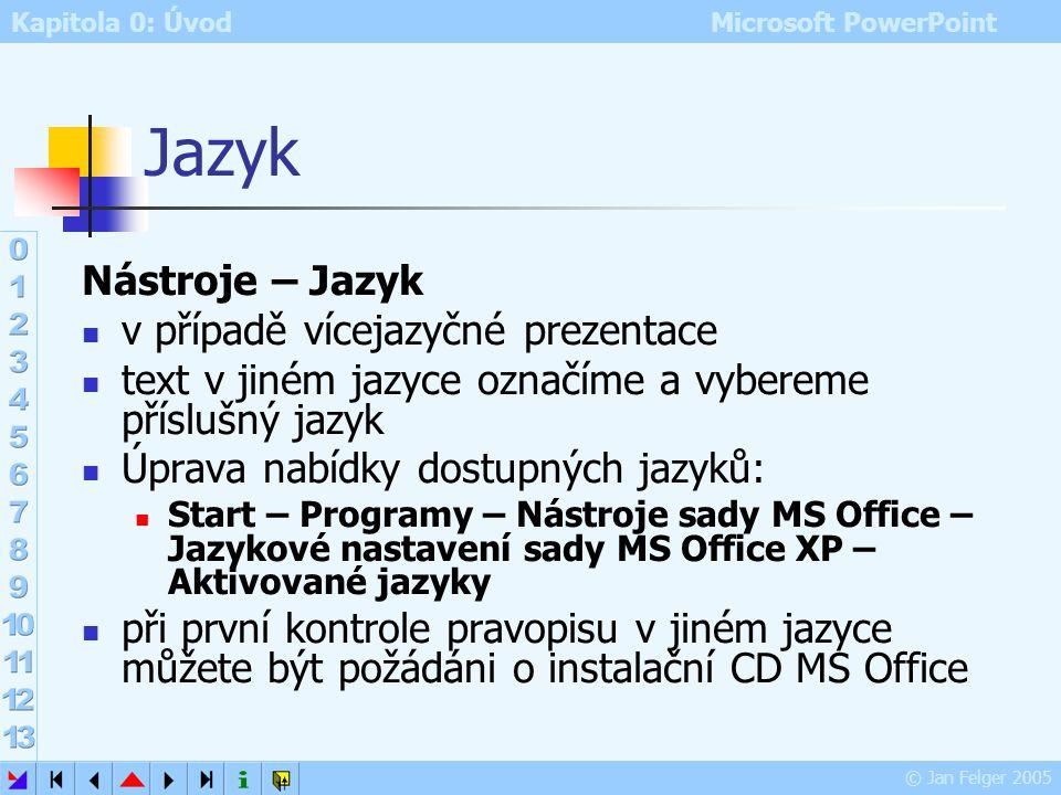 Kapitola 0: Úvod Microsoft PowerPoint © Jan Felger 2005 Kontrola pravopisu 4/4 Nastavení Pravopisu Nástroje – Možnosti – Pravopis a styl Kontrolovat p