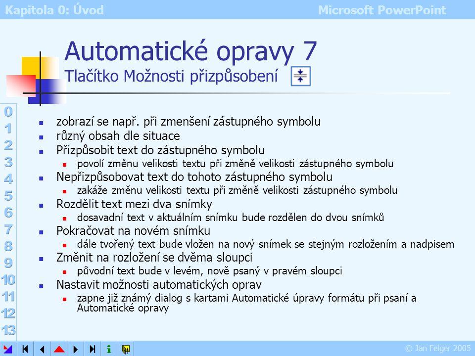 Kapitola 0: Úvod Microsoft PowerPoint © Jan Felger 2005 Nahrazovat při psaní nahrazuje znaky dle zaškrtnutého výběru lze doporučit hlavně volby 1 a 4