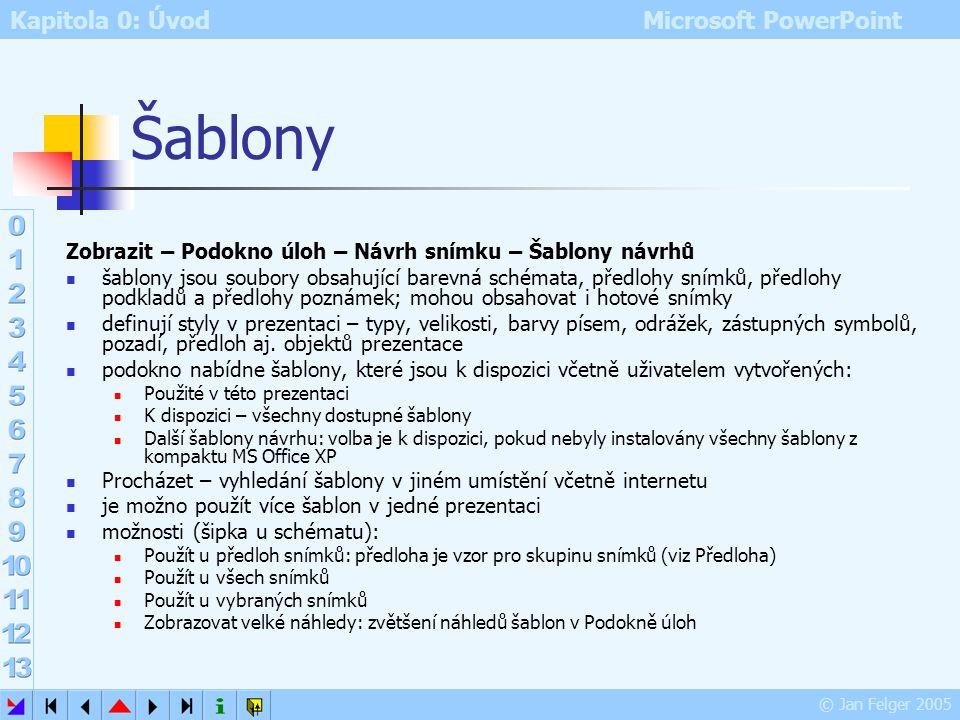 Kapitola 0: Úvod Microsoft PowerPoint © Jan Felger 2005 Předlohy jednotný návrh určité skupiny snímků prezentace (např. jedné kapitoly) definuje rozvr
