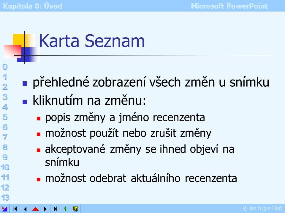 Kapitola 0: Úvod Microsoft PowerPoint © Jan Felger 2005 Karta Galerie karta Galerie miniatura aktuálního snímku včetně úprav od zvolených recenzentů t