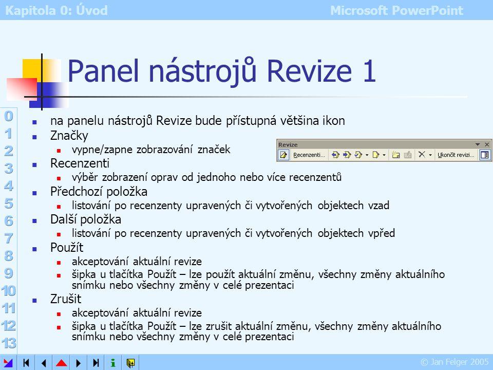 Kapitola 0: Úvod Microsoft PowerPoint © Jan Felger 2005 Karta Seznam přehledné zobrazení všech změn u snímku kliknutím na změnu: popis změny a jméno r