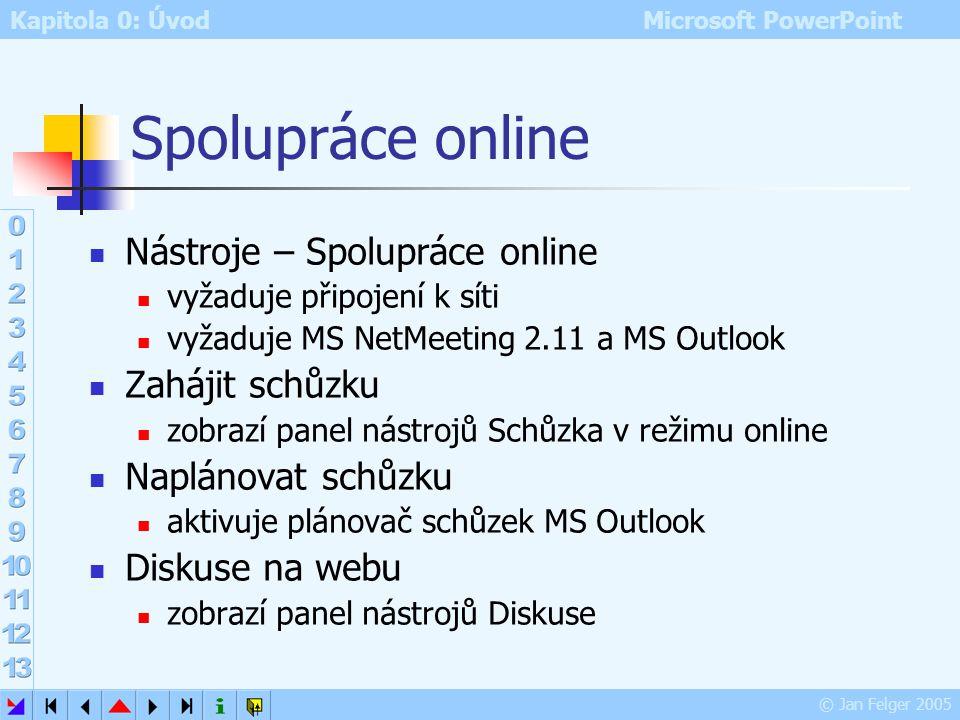 Kapitola 0: Úvod Microsoft PowerPoint © Jan Felger 2005 Panel nástrojů Revize 2 Vložit komentář vložení komentáře do prezentace Upravit komentář edita