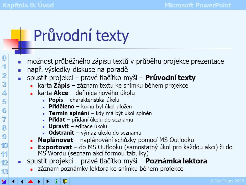 Kapitola 0: Úvod Microsoft PowerPoint © Jan Felger 2005 Spolupráce online Nástroje – Spolupráce online vyžaduje připojení k síti vyžaduje MS NetMeetin