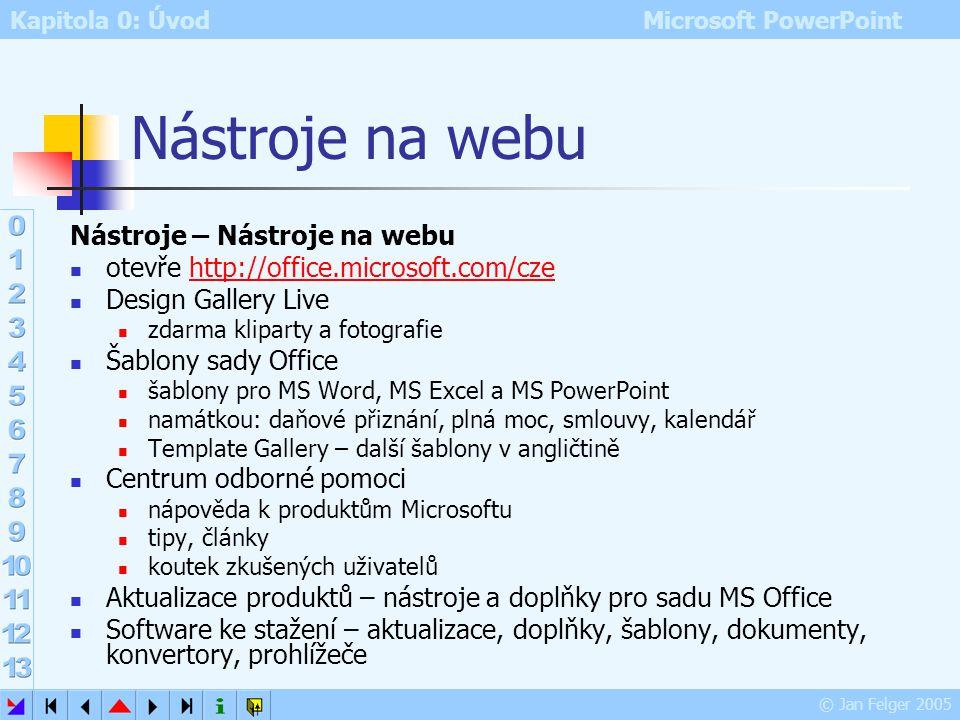 Kapitola 0: Úvod Microsoft PowerPoint © Jan Felger 2005 Průvodní texty možnost průběžného zápisu textů v průběhu projekce prezentace např. výsledky di