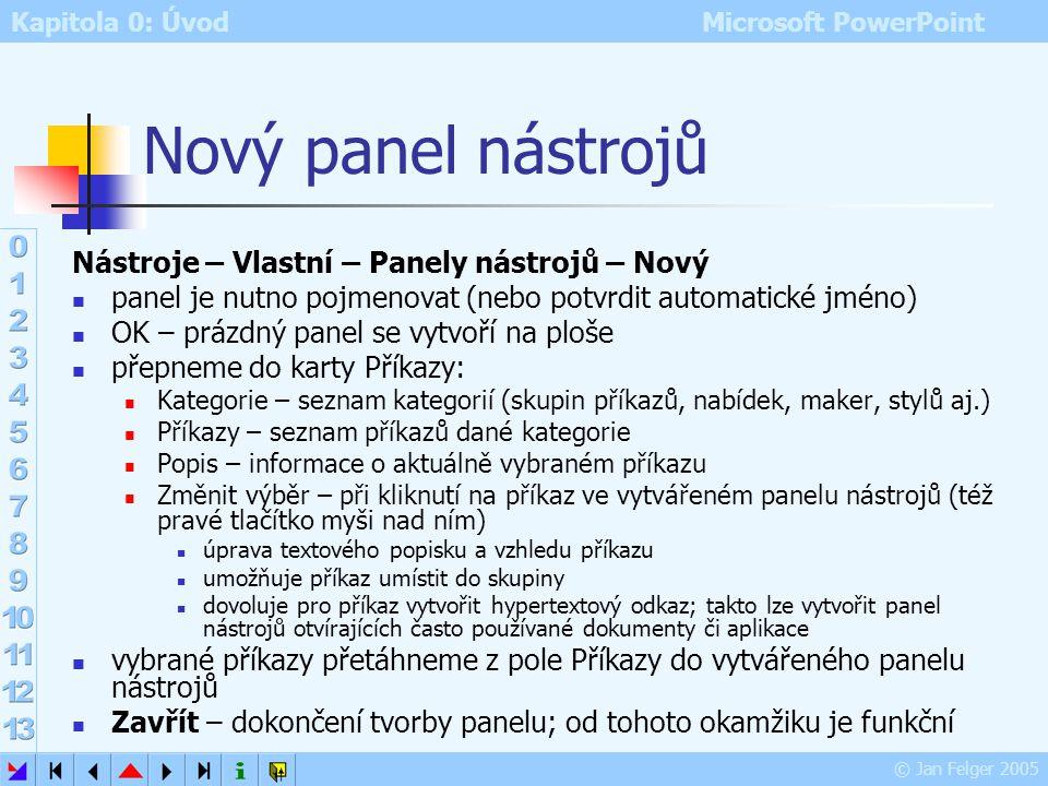 Kapitola 0: Úvod Microsoft PowerPoint © Jan Felger 2005 Vlastní Nástroje – Vlastní Možnost tvorby: vlastních panelů nástrojů (nebo přidání ikon do exi