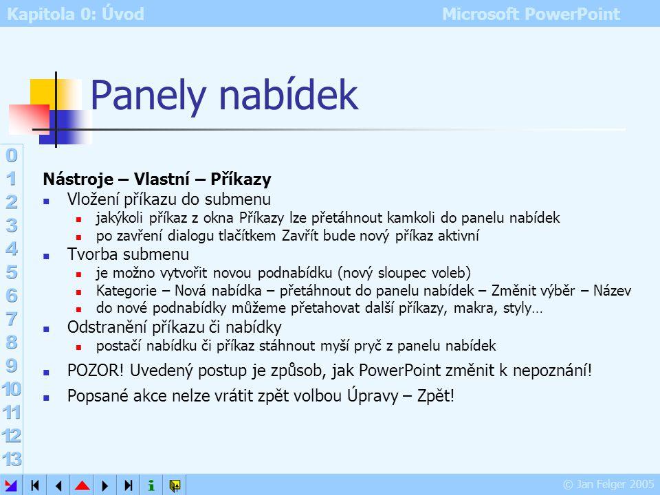 Kapitola 0: Úvod Microsoft PowerPoint © Jan Felger 2005 Úpravy panelu nástrojů Zobrazit – Panely nástrojů – Vlastní – Panely nástrojů – vybrat panel (