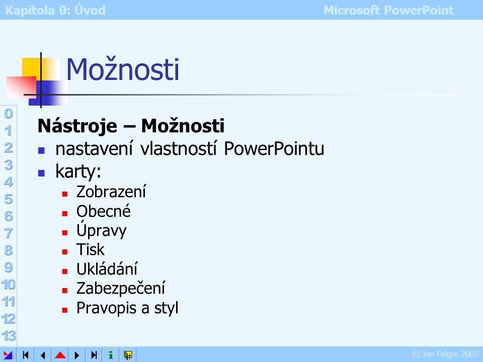 Kapitola 0: Úvod Microsoft PowerPoint © Jan Felger 2005 Nástroje – Vlastní – Možnosti Umístit panely nástrojů Standardní a Formát ve dvou řadách – dop