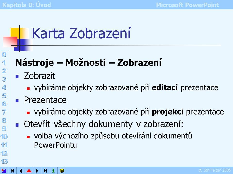 Kapitola 0: Úvod Microsoft PowerPoint © Jan Felger 2005 Možnosti Nástroje – Možnosti nastavení vlastností PowerPointu karty: Zobrazení Obecné Úpravy T