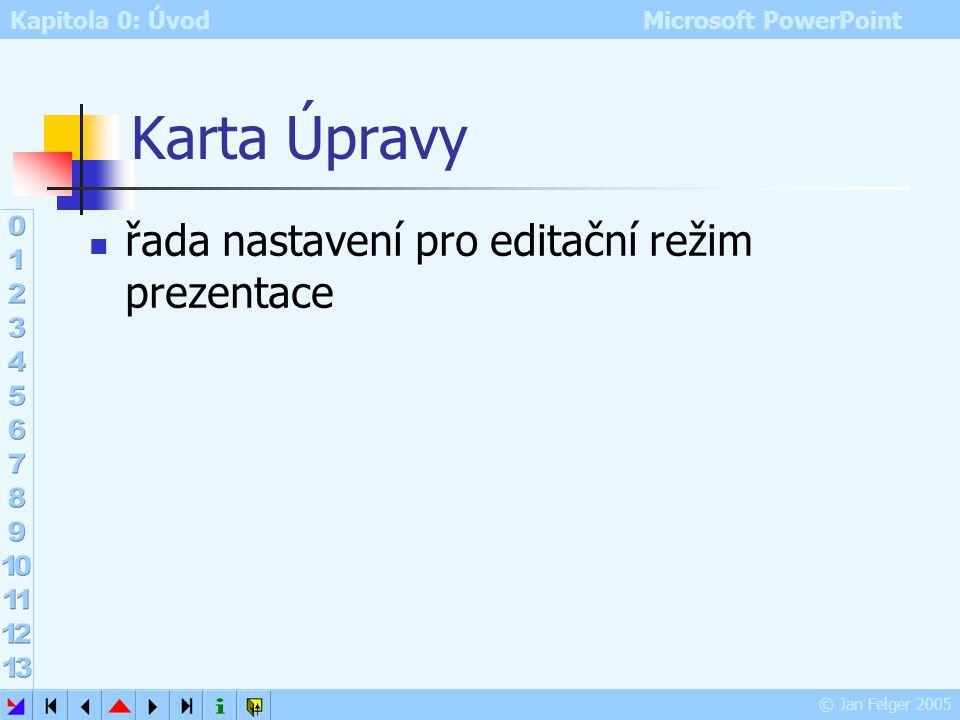 Kapitola 0: Úvod Microsoft PowerPoint © Jan Felger 2005 Karta Obecné Zvuková kontrola prvků obrazovky zvukové upozornění např. při chybách uživatele N