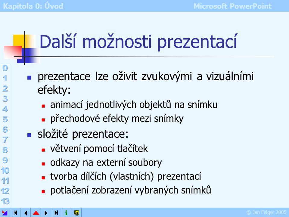 Kapitola 0: Úvod Microsoft PowerPoint © Jan Felger 2005 Nástroje pro ladění prezentací kontrola pravopisu (překlepů!) kontrola stylu (velikost písma,