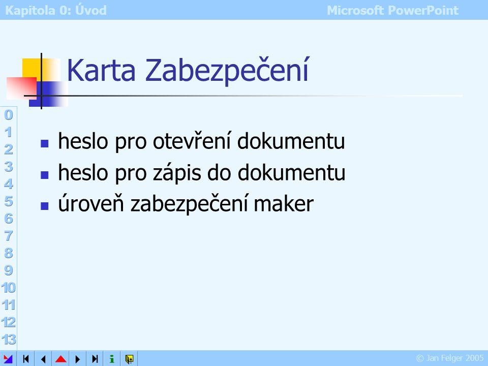 Kapitola 0: Úvod Microsoft PowerPoint © Jan Felger 2005 Karta Ukládání výchozí umístění dokumentů PowerPointu vložení písem True Type do prezentace uk