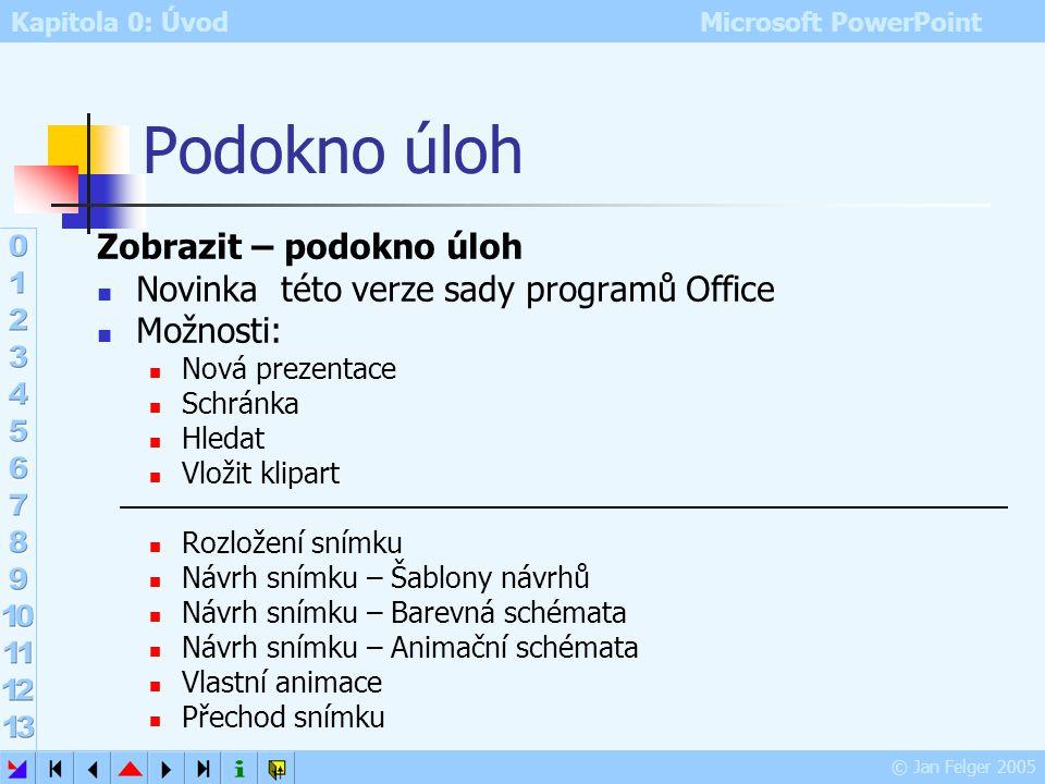 Kapitola 0: Úvod Microsoft PowerPoint © Jan Felger 2005 Další možnosti prezentací prezentace lze oživit zvukovými a vizuálními efekty: animací jednotl