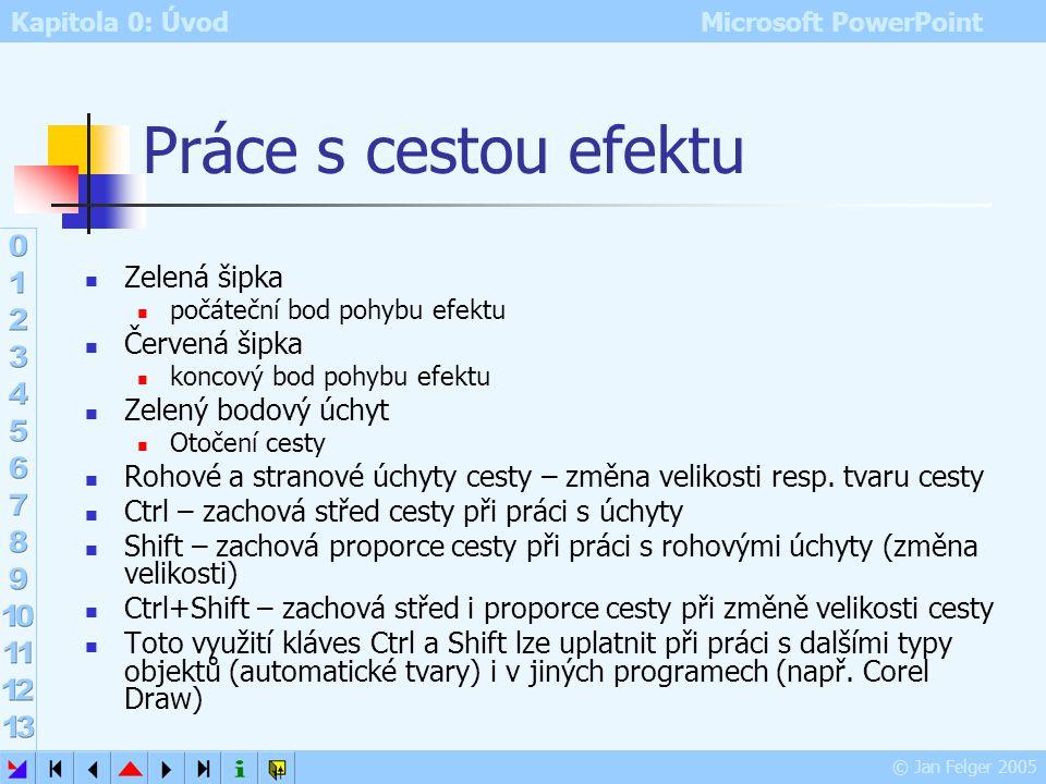 Kapitola 0: Úvod Microsoft PowerPoint © Jan Felger 2005 Animace po odstavcích Je možno nastavit efekt animace pro celý zástupný symbol nebo pro každý
