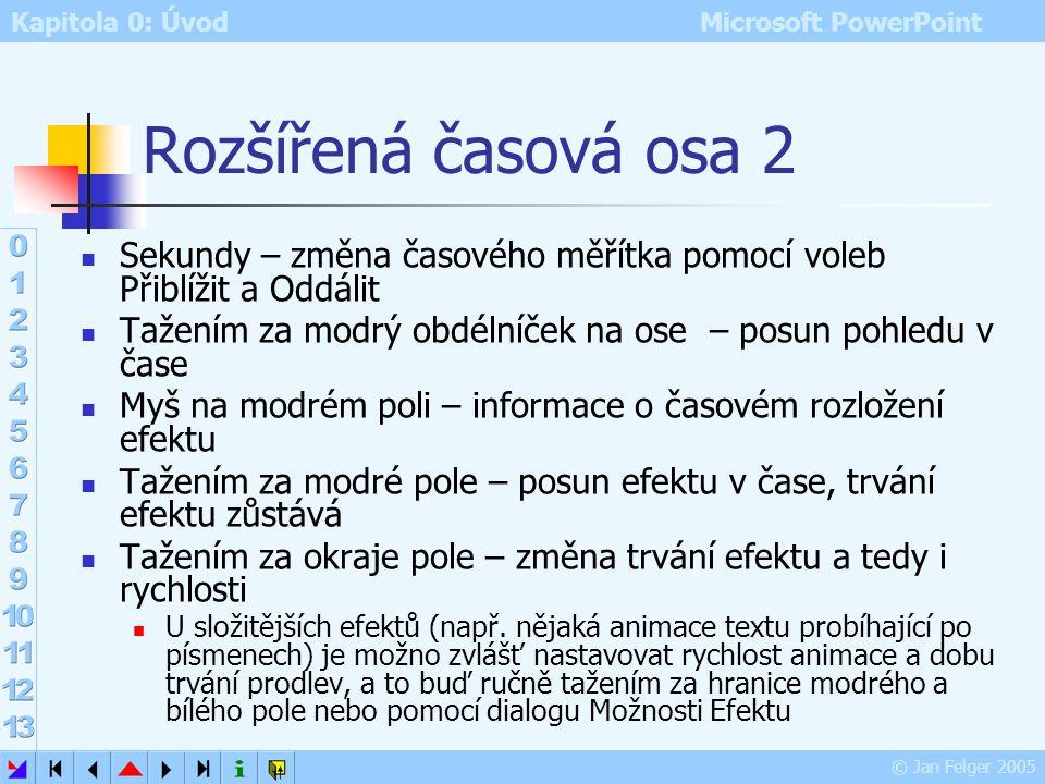 Kapitola 0: Úvod Microsoft PowerPoint © Jan Felger 2005 Rozšířená časová osa 1