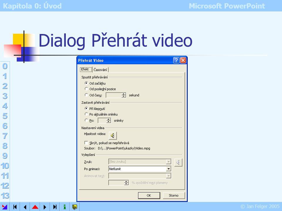 Kapitola 0: Úvod Microsoft PowerPoint © Jan Felger 2005 Animace videa Vložit – Video a zvuk – Video ze souboru Zde je vloženo video formátu MPG Chcete