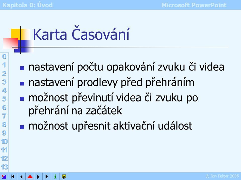 Kapitola 0: Úvod Microsoft PowerPoint © Jan Felger 2005 Dialog Přehrát zvuk