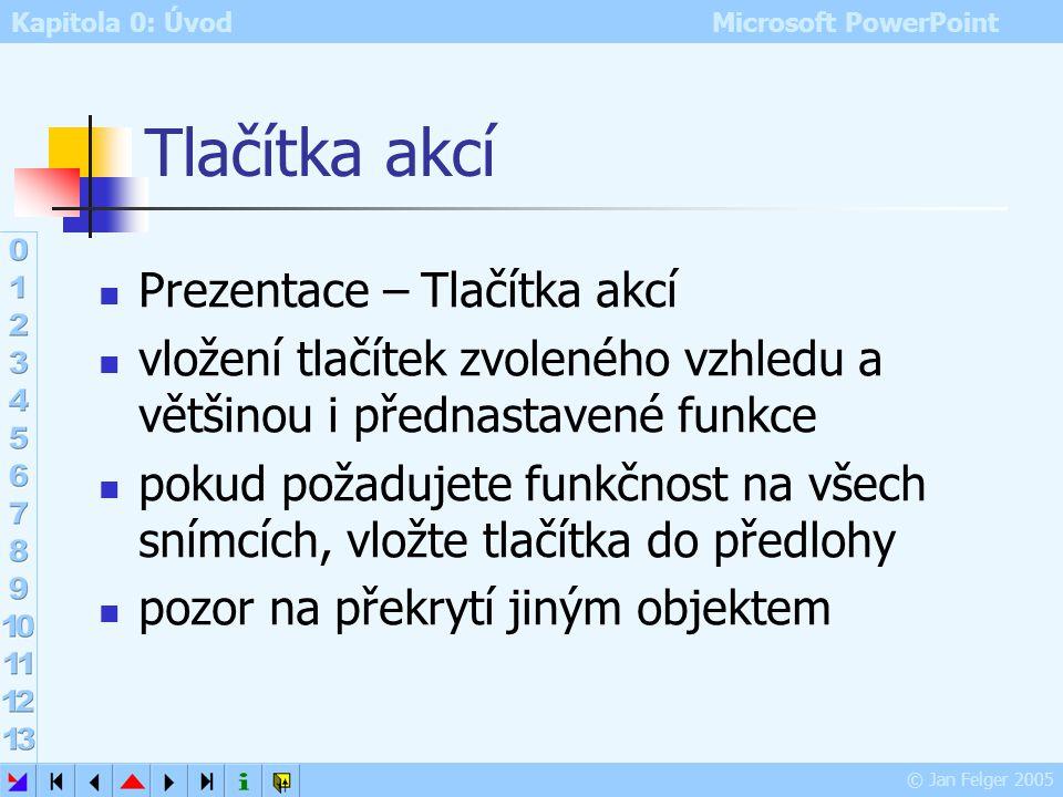 Kapitola 0: Úvod Microsoft PowerPoint © Jan Felger 2005 Karta Časování nastavení počtu opakování zvuku či videa nastavení prodlevy před přehráním možn