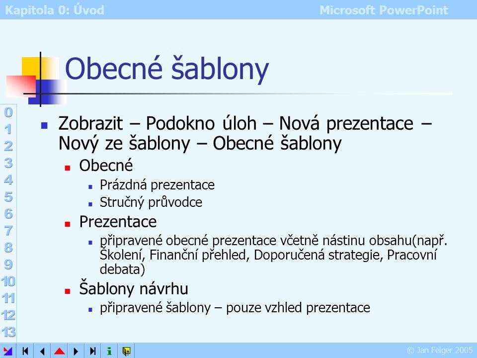 Kapitola 0: Úvod Microsoft PowerPoint © Jan Felger 2005 Nová prezentace Zobrazit – Podokno úloh – Nová prezentace Otevřít prezentaci nabídka dříve edi
