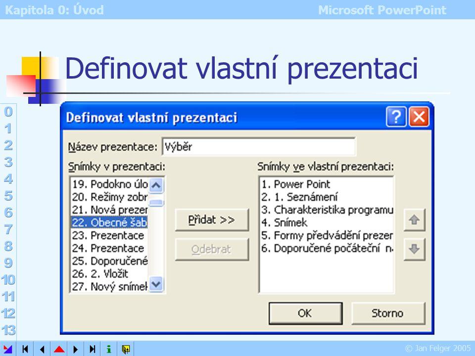 Kapitola 0: Úvod Microsoft PowerPoint © Jan Felger 2005 Vlastní prezentace Prezentace – Vlastní prezentace vytvoření jiné prezentace z aktuální Nová –