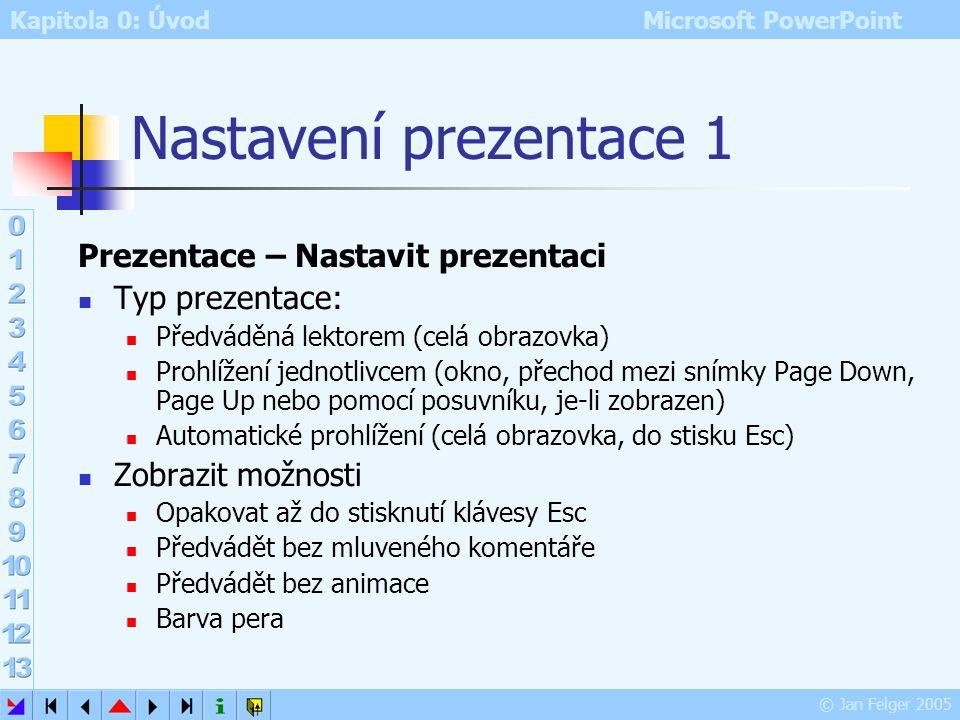 Kapitola 0: Úvod Microsoft PowerPoint © Jan Felger 2005 Dialog Vlastní prezentace