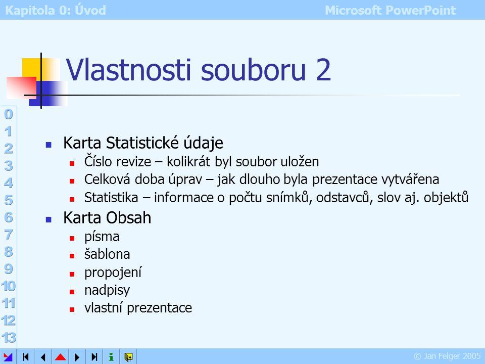 Kapitola 0: Úvod Microsoft PowerPoint © Jan Felger 2005 Vlastnosti souboru 1 Soubor – Vlastnosti Karta Obecné základní informace o souboru s prezentac