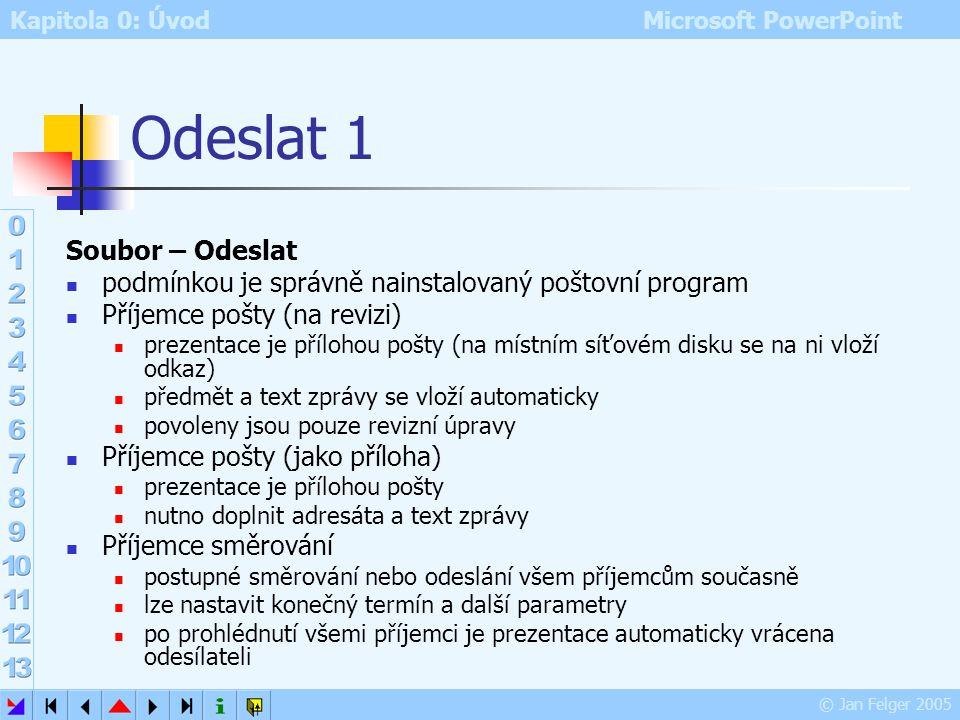 Kapitola 0: Úvod Microsoft PowerPoint © Jan Felger 2005 Vlastnosti souboru 3 Karta Vlastní další vlastnosti prezentace možno vytvořit novou vlastnost