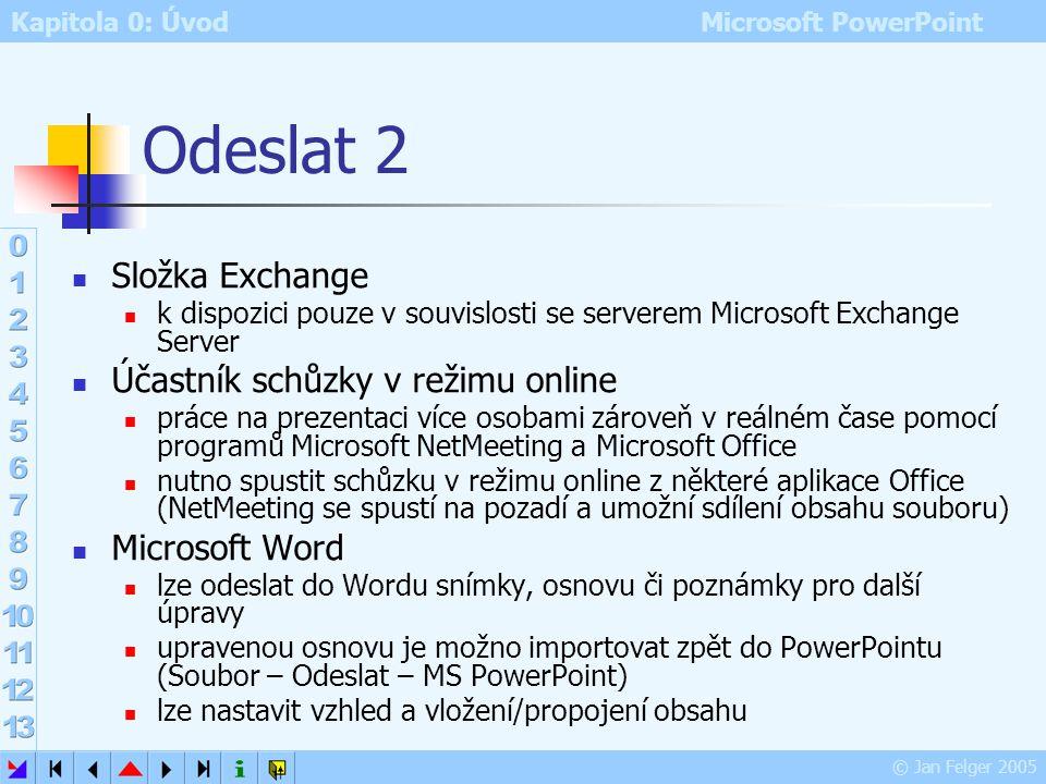 Kapitola 0: Úvod Microsoft PowerPoint © Jan Felger 2005 Odeslat 1 Soubor – Odeslat podmínkou je správně nainstalovaný poštovní program Příjemce pošty