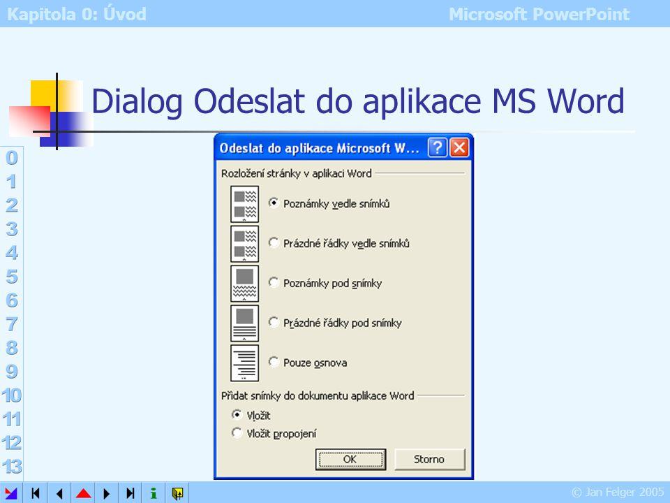 Kapitola 0: Úvod Microsoft PowerPoint © Jan Felger 2005 Odeslat 2 Složka Exchange k dispozici pouze v souvislosti se serverem Microsoft Exchange Serve