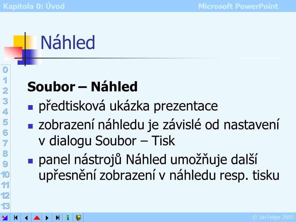 Kapitola 0: Úvod Microsoft PowerPoint © Jan Felger 2005 Tisk 2 řada voleb společných všem programům s tiskovým výstupem specifika PowerPointu: Rozsah