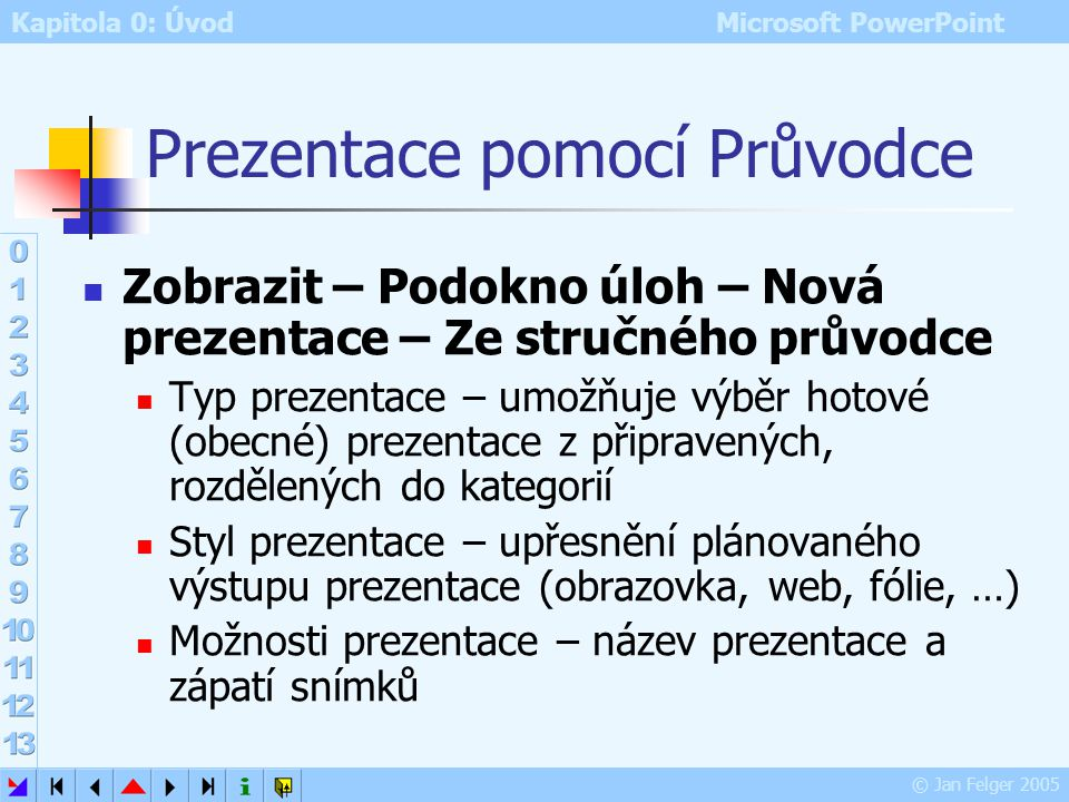 Kapitola 0: Úvod Microsoft PowerPoint © Jan Felger 2005 Prezentace pomocí šablony PowerPoint obsahuje profesionální ukázkové prezentace připravené výr
