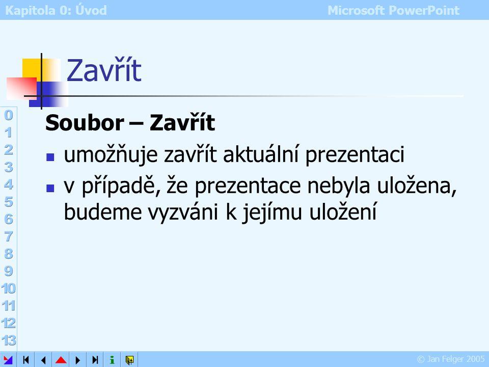 Kapitola 0: Úvod Microsoft PowerPoint © Jan Felger 2005 Otevřít Soubor – Otevřít (Ctrl+O, ikona Otevřít) otevře dialog pro vyhledání a otevření soubor