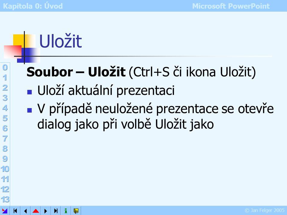 Kapitola 0: Úvod Microsoft PowerPoint © Jan Felger 2005 Zavřít Soubor – Zavřít umožňuje zavřít aktuální prezentaci v případě, že prezentace nebyla ulo